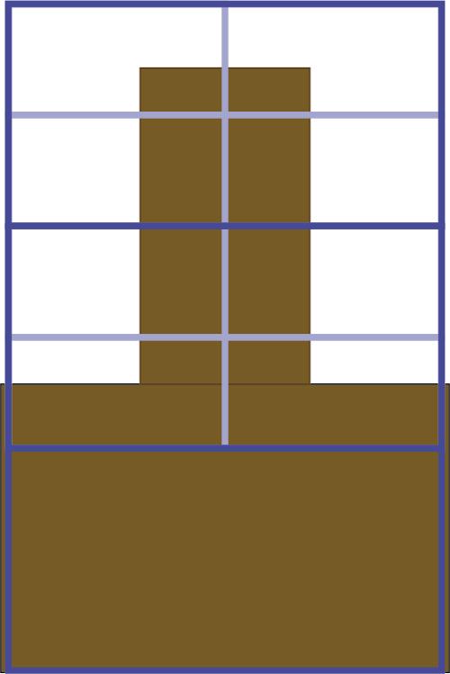 das Bild zeigt eine Skizze der Schlafmatte mit dem Alurahmen in den vorderen beiden Segmenten.